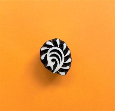 Indian Wooden Printing Block - Mini Indian Swirl