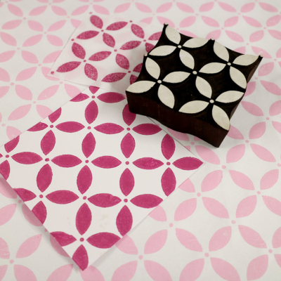 Indian Wooden Printing Block - Petal & Dot Repeat