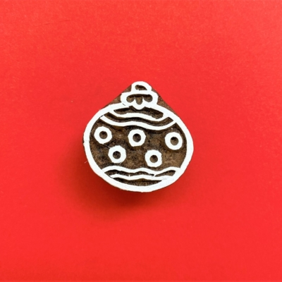 Indian Wooden Printing Block - Small Spotty Bauble