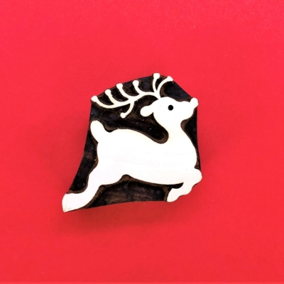 Indian Wooden Printing Block - Small Leaping Reindeer