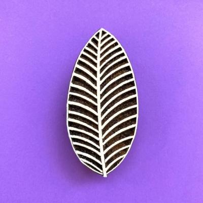 Indian Wooden Printing Block - Stripy Long Leaf