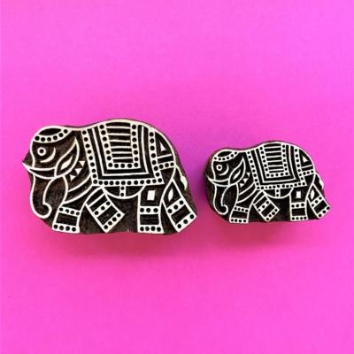 Indian Wooden Printing Blocks - Set of 2 Elephants