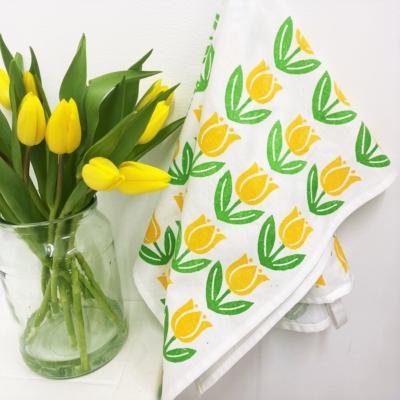 Spring Tea Towels- Yellow Tulips