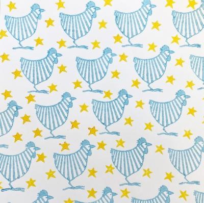 Stripy Chickens and Stars Block Prints