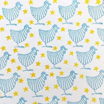 Stripy Chickens and Stars Block Prints
