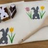 Bunny & Tulip Block Printed Tea Towel