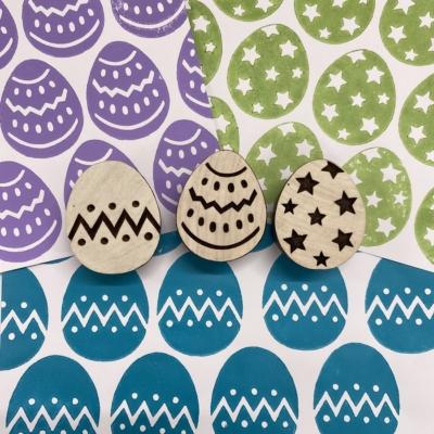 Indian Wooden Printing Blocks - Set of 3 Easter Eggs