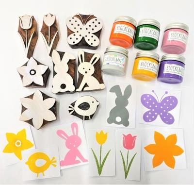 Indian Wooden Printing Block Set - Ultimate Easter Bundle