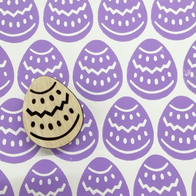 Indian Wooden Printing Block - Patterned Easter Egg