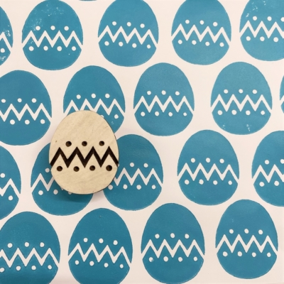 Indian Wooden Printing Block - Zigzag Easter Egg