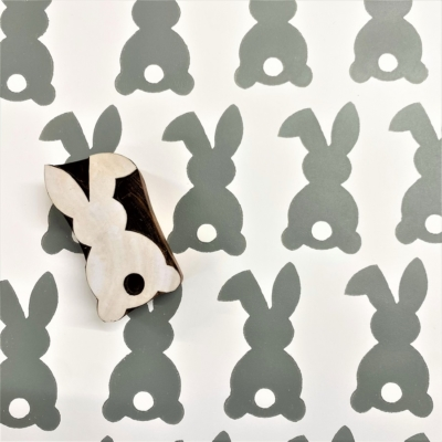 Indian Wooden Printing Block - Easter Bunny