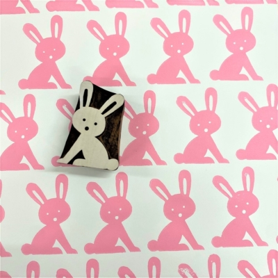 Indian Wooden Printing Block - Funky Easter Bunny