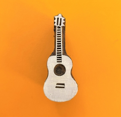 Indian Wooden Printing Block - Guitar