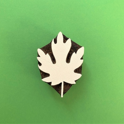 Indian Wooden Printing Block - Small Maple Leaf