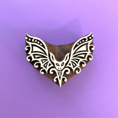 Indian Wooden Printing Block - Stylised Bat
