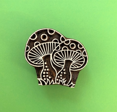 Indian Wooden Printing Block - Toad Stools