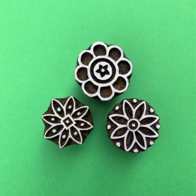 Indian Wooden Printing Set - 3 Flowers