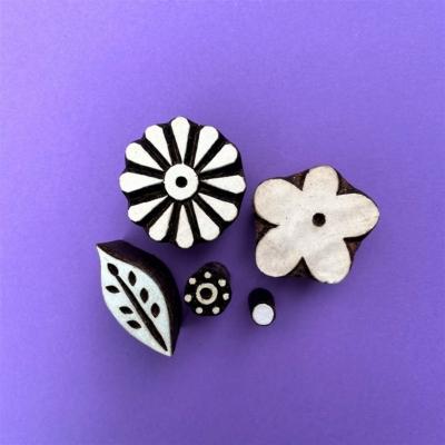 Indian Wooden Printing Set - Spring Flowers
