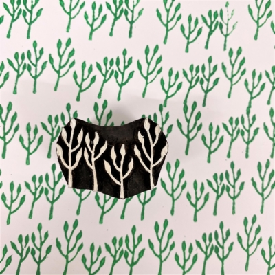 Indian Wooden Printing Block - 4 Point Leaf Sprig