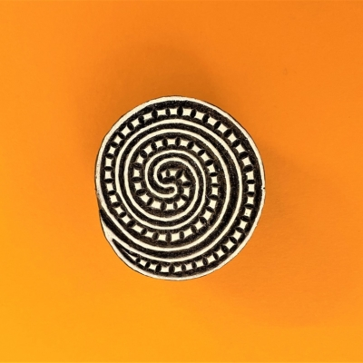 Indian Wooden Printing Block - Dotty Spiral