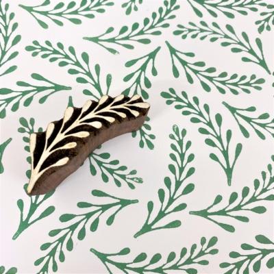 Indian Wooden Printing Block - Elegant Long Leaf