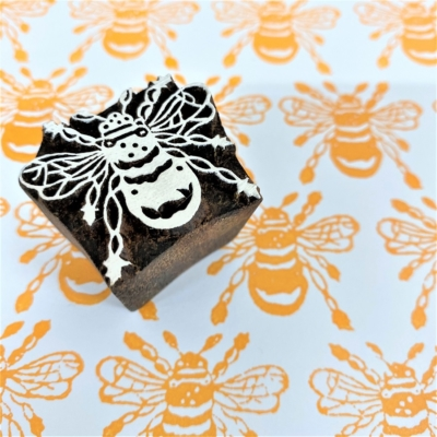 Indian Wooden Printing Block - Extra Small Bee