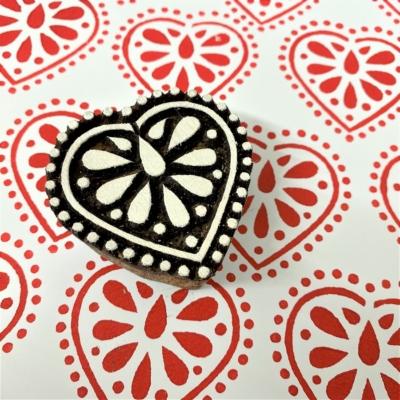 Indian Wooden Printing Block - Folk Heart