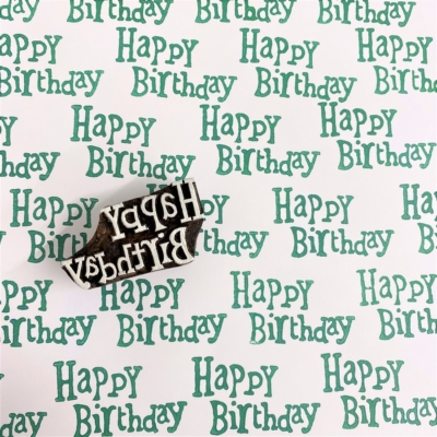 Indian Wooden Printing Block - Small Funky Happy Birthday