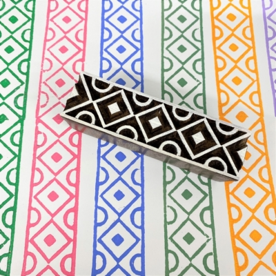 Indian Wooden Printing Block - Geometric Border 2