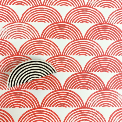 Indian Wooden Printing Block - Lined Half Circle