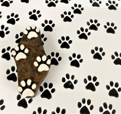 Indian Wooden Printing Block - Pawprints Repeat