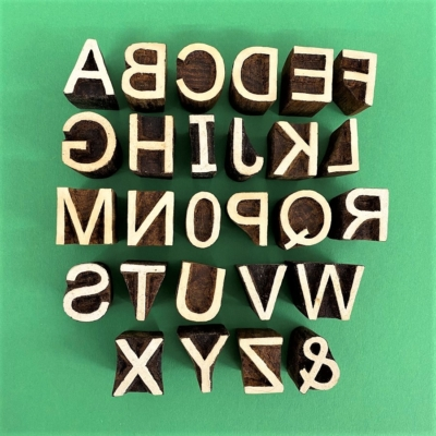 Indian Wooden Printing Blocks - Simple Capital Alphabet