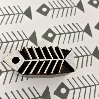 Indian Wooden Printing Block - Skeleton Fish
