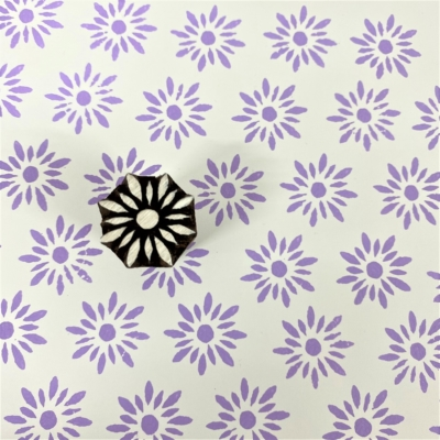 Indian Wooden Printing Block - Small Daisy Flower