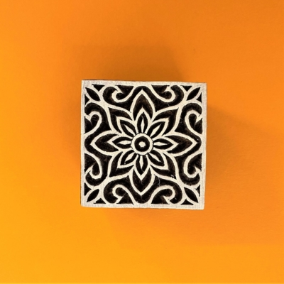 Indian Wooden Printing Block - Small Square Flower Repeat