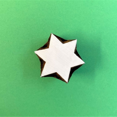 Indian Wooden Printing Block - 6 Point Star LC