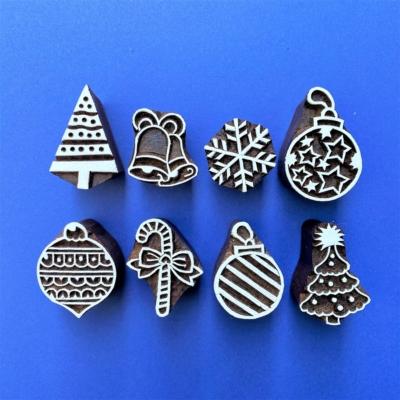 Indian Block Printing Set - 8 Christmas Designs