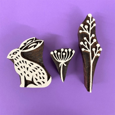 Indian Wooden Block Set - Spring Hares