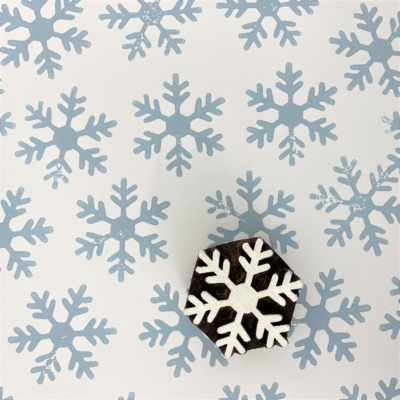 Indian Wooden Printing Block - 6 Point Simple Snowflake