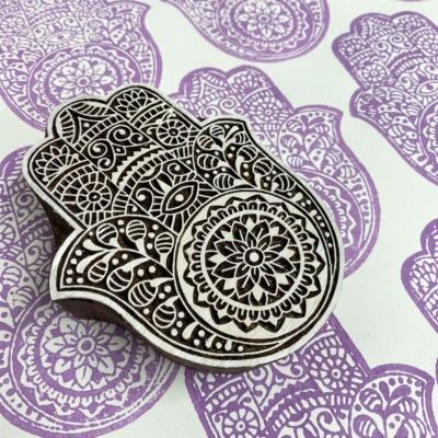 Indian Wooden Printing Block - Detailed Hamsa Hand