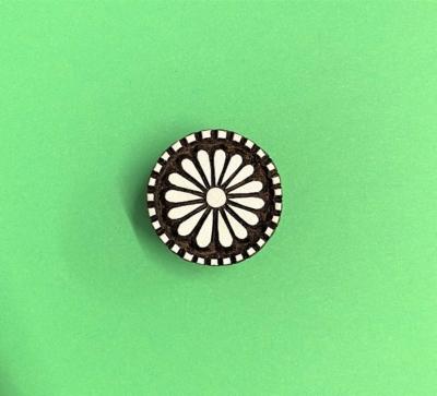 Indian Wooden Printing Block - Dotty Circle Flower