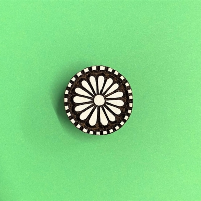 Indian Wooden Printing Block - Dotty Circle Flower