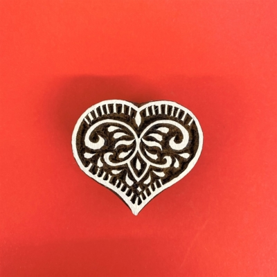 Indian Wooden Printing Block - Large Heart Design