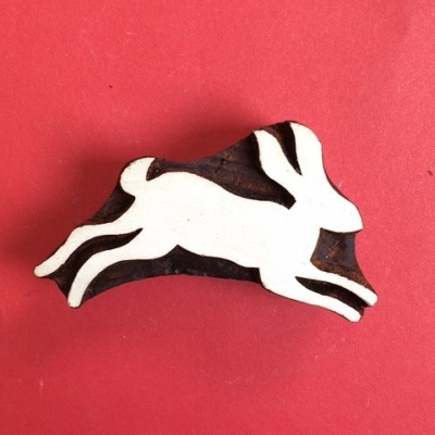 Indian Wooden Printing Block - Hare Jumping Right