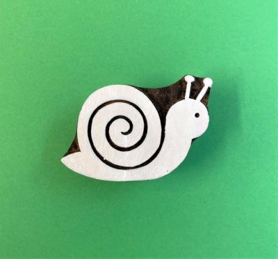 Indian Wooden Printing Block - Large Snail