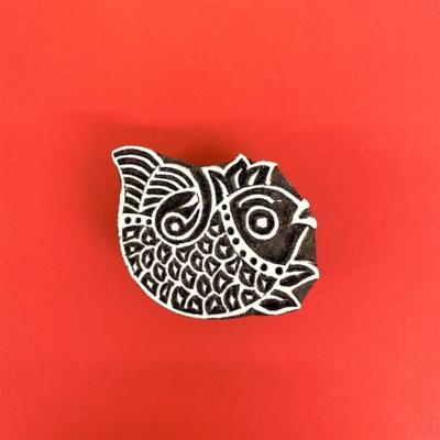 Indian Wooden Printing Block - Laughing Fish