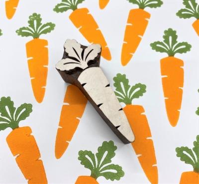 Indian Wooden Printing Block - Carrot