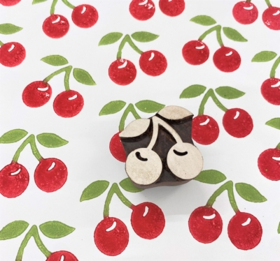 Indian Wooden Printing Block - Cherries