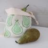 Block Printed Pear Drawstring Bag