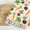 Veggie Tea Towel- Block Printed
